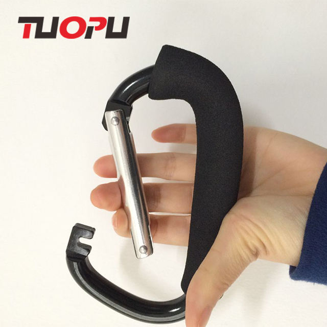 Colorful D aluminium carabiner hooks D shaped aluminum carabiner with sponge