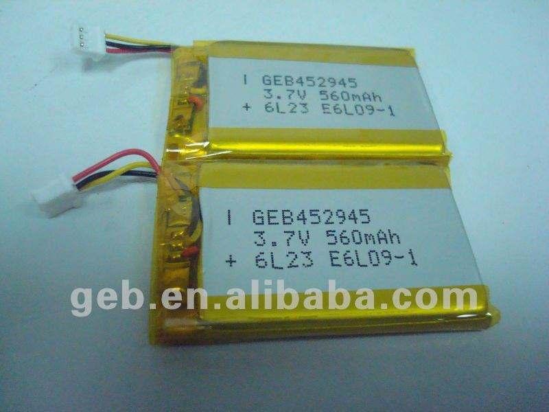 충전식 리튬 폴리머 리튬 폴리머 배터리 GEB452945 3.7 볼트 560 미리암페르하우어