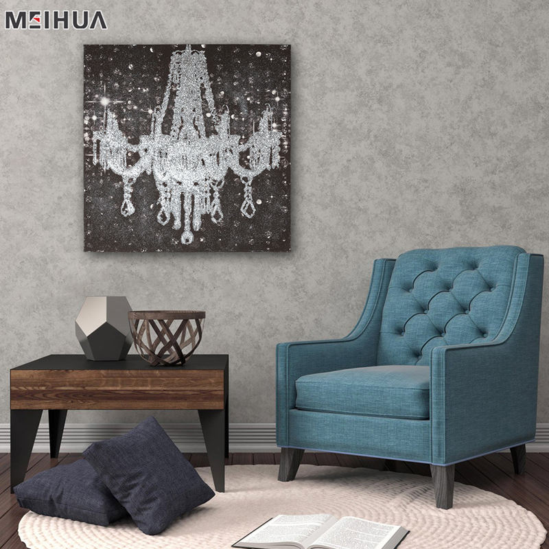 Wall picture for restaurant chandelier oil paintings on canvas china for bedroom