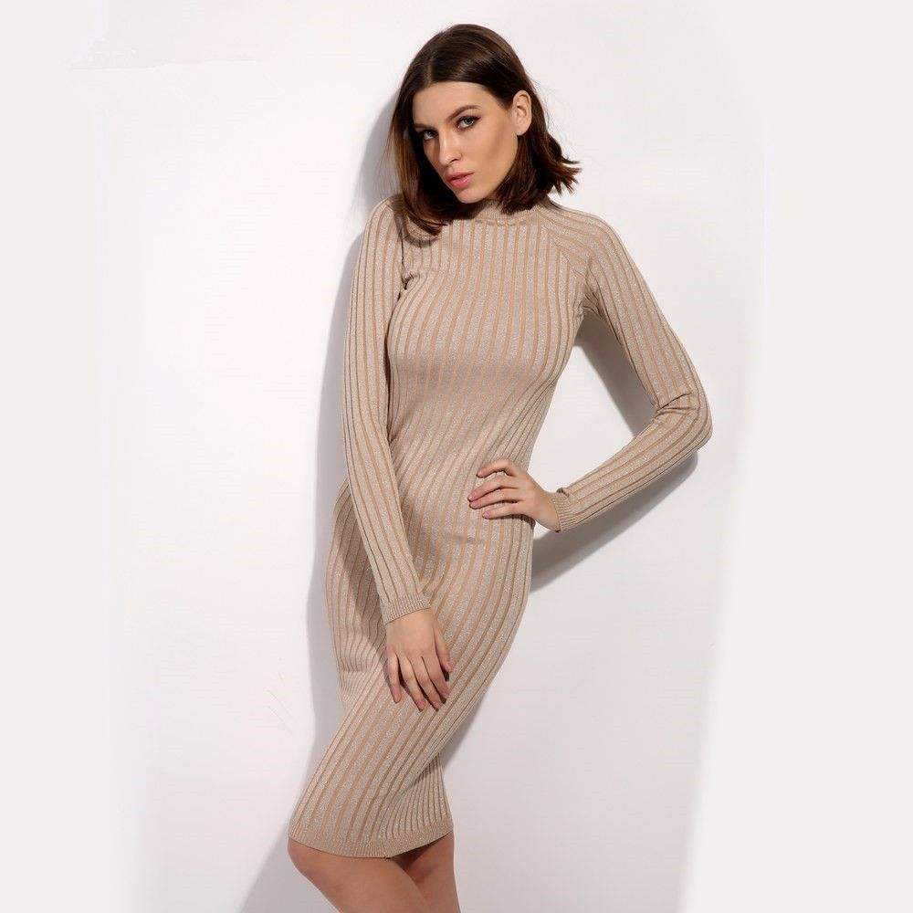 Wholesale Fashion Sexy Tight High Collar Lady Women Sweater Dress