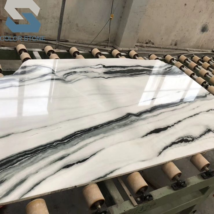 Popular polished China panda white marble stone slabs for wall background bookmatched