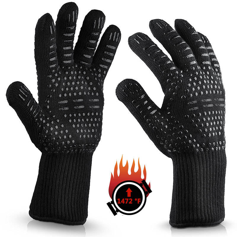 Feiyou Slip-resistant Design and Dotted Style black oven mitt heat resistant silicone barbecue BBQ cooking gloves