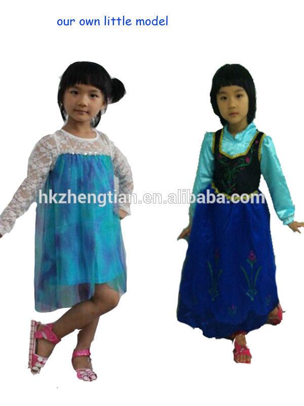 中国のサプライヤー卸売安い子供の女の子のドレスの衣装王女アンナ冷凍エルザドレスパーティードレス