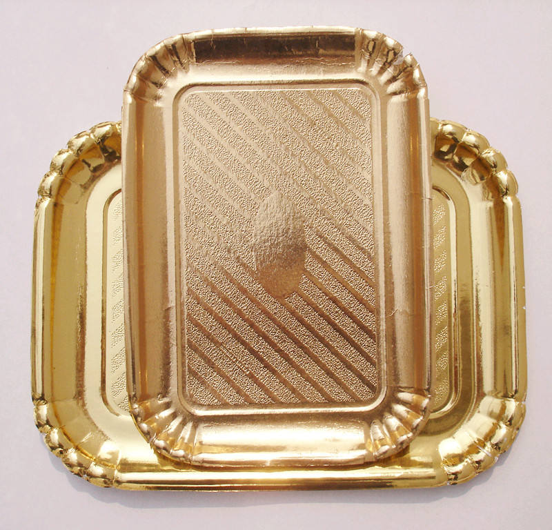 Gold Raw Material candy Paper Charger Plates Round Gold Tray for Party Dessert