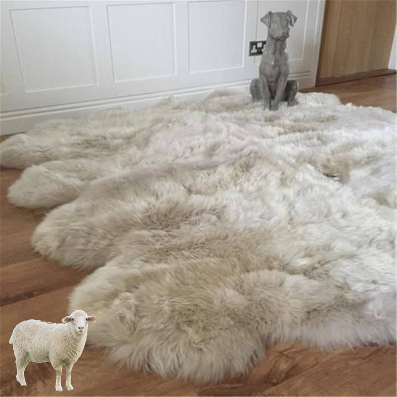 Animal skin shaggy sheep skin baby play carpet in living room