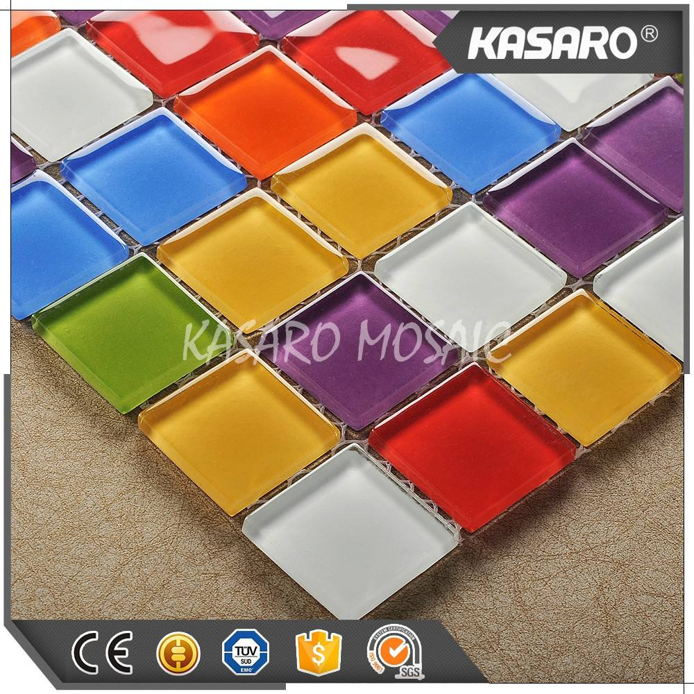Red Blue Green Yellow White Purple Mix Color Glass Mosaic Tiles, Exterior Wall Mosaic Tile, Mosaic Bathroom Accessory