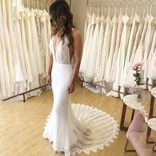 2019 Sexy Deep V Neck Lace Applique Mermaid Wedding Dresses Bride Gowns