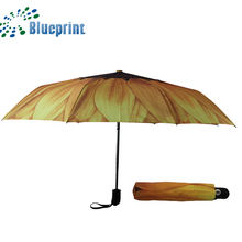 fashion sunflower umbrella automatic three folding wholesale