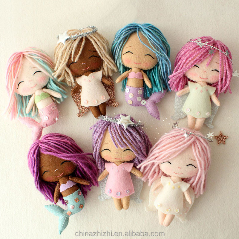 new products 2018 handmade angel items for gifts OEM felt dream angel girl Custom the little mermaid dolls for kids