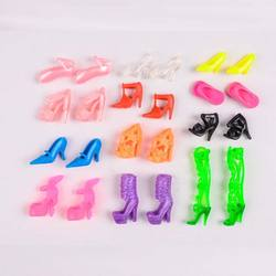 Free Shipping Random 12 Pairs Assorted Fashion Colorful Mixed Style Sandals High Heels Shoes For Doll Accessories Clothes Dress