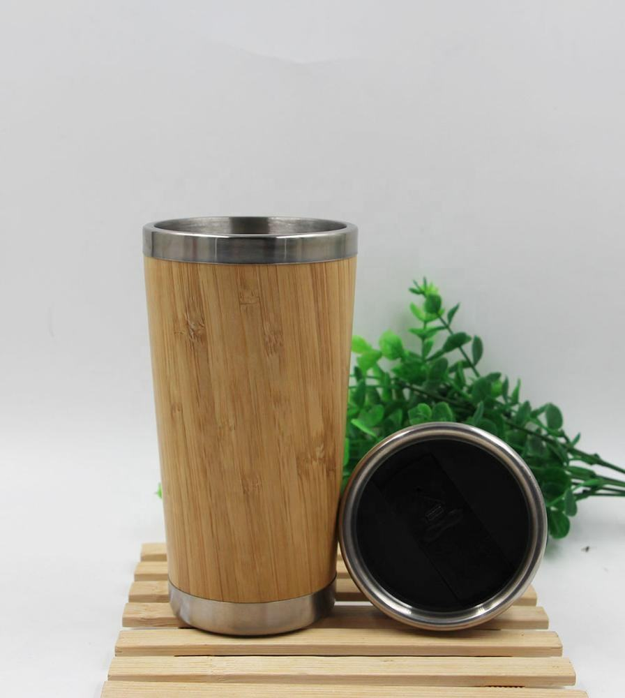 Stainless Steel 두 번 벽 인테리어 Insulated Bamboo 여행 낯 짝 엎 지름 와 증거 & Slip 탄력적 인 base, 보온병 Bamboo 차 낯 짝
