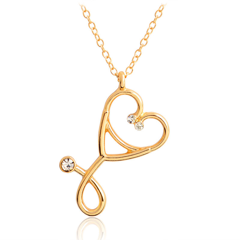 Stethoscope Pendant Necklace Heart Gold Chain Gift for Doctors Nurse Physicians Medical Student Graduation present