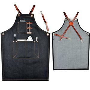 coffee denim apron with leather strap Unisex Adjustable Denim Jean Kitchen Apron With Pockets for Women Men