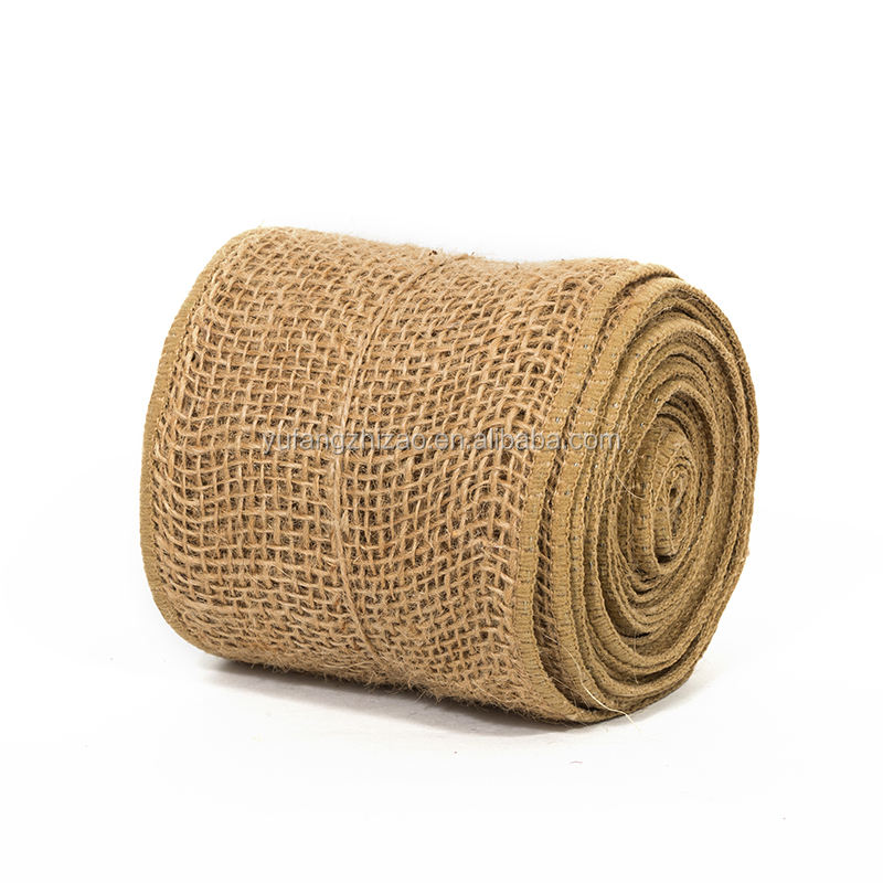 Jute Wholesale 100% Hemp Fabric Hessian Tape Burlap Ribbon Roll Jute Ribbon