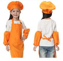Christmas Gifts 3pcs/set Children Kitchen Waists 12 Colors Kids Aprons with Sleeve&Chef Hats for Painting Cooking Baking