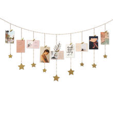 Hanging Photo Display Wood Stars Garland with Chains Picture Frame Collage with Wood Clips Wall Art Decoration for Home Office