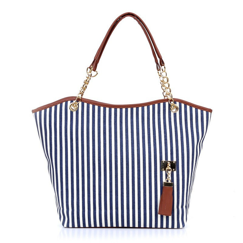 2020 factory direct sale low price multifunction women tote stripe canvas handbag