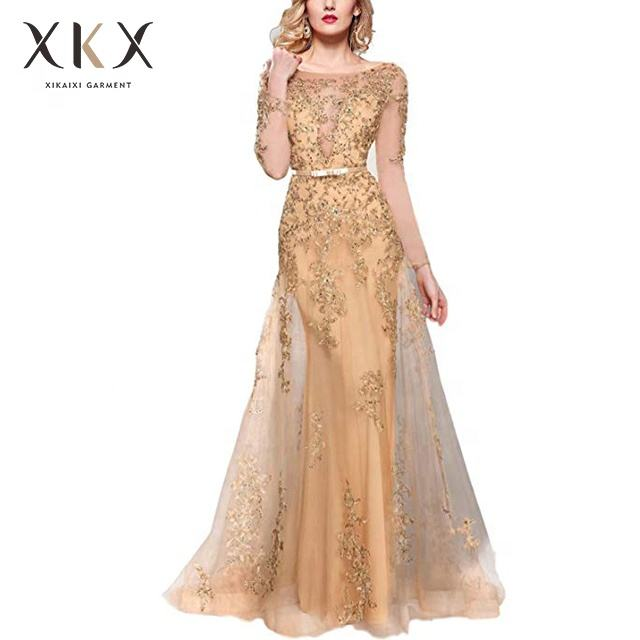 Garment wholesale women dream long sleeve tulle embroidered dress sexy elegant party evening dress