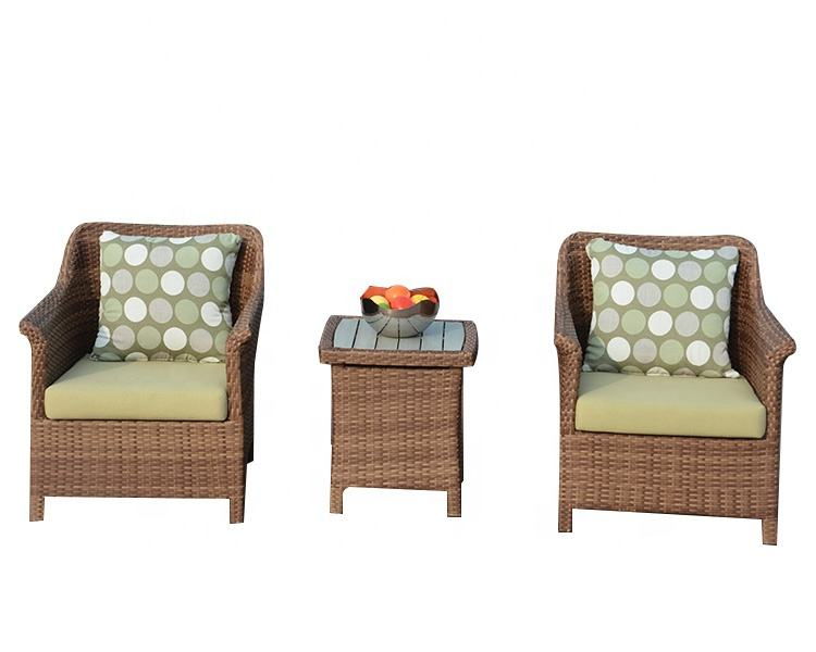 2019 Hot Sell 2pc Outdoor furniture Garden Wicker Sofa Set Balcony Dining Table