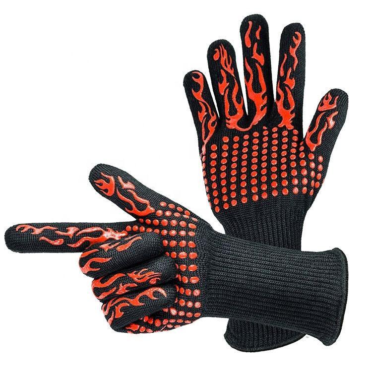 High temperature resistance Glove BBQ grill glove barbecue Fire Protection Heat Resistant Glove For Cooking Baking Oven