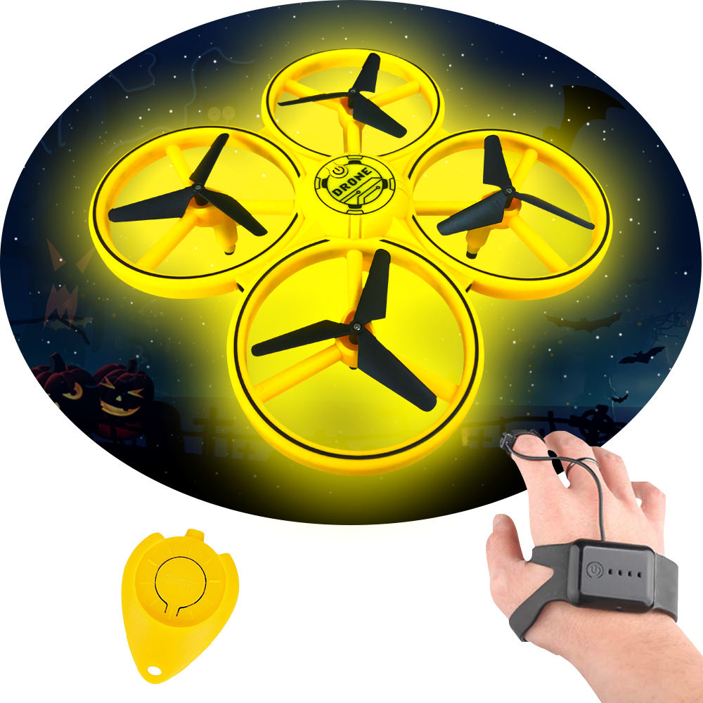 Mini hand watch gesture control hands free rc Infrared sensing gravity watch sensing drone with light factory