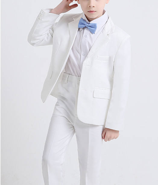 Boys Suit Two-Piece jacket+pant White Suit Dress Piano Costume All Year ZYL093