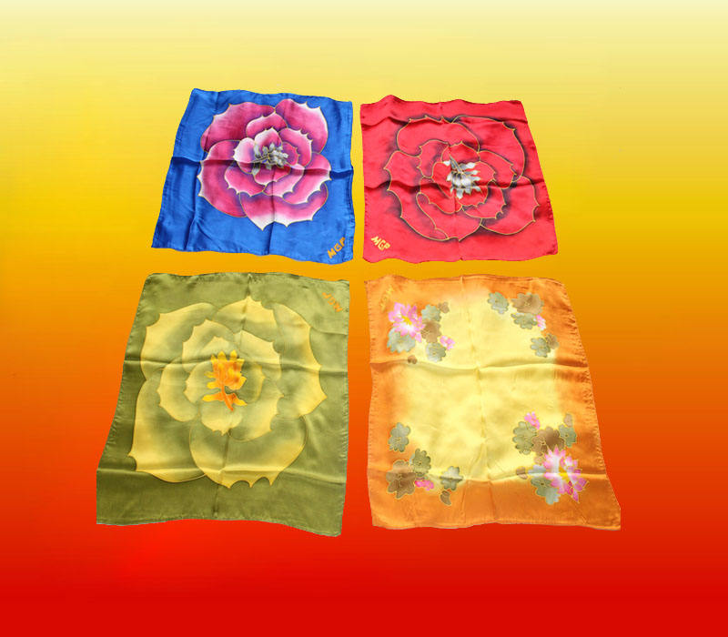 MGP Logo Chinese 100% square silk scarf for Business Gift