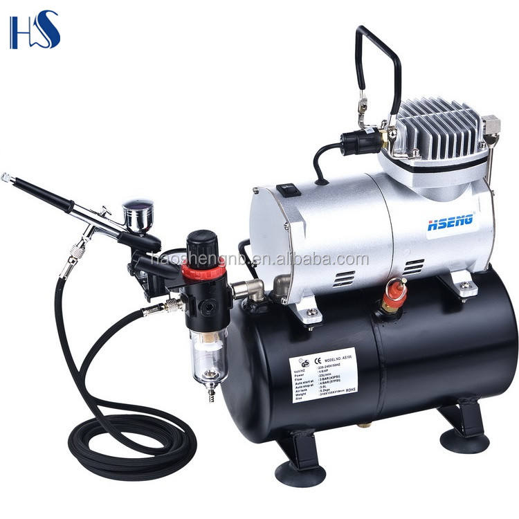 HIGH QUALITY OIL-LESS MINI PISTON TYPE AIRBRUSH AIR COMPRESSOR HSENG AS186K