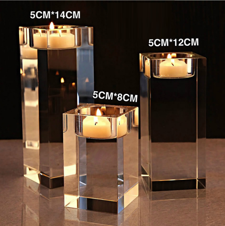 Custom simple Candlestick crystal candles European wedding creative Candlestick romantic soft home crystal Candlestick 5*8cm