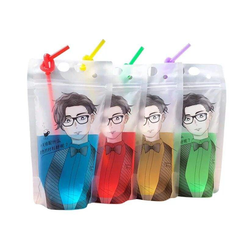 Custom Print 500ml Matt Clear Stand Up Pouch With Straws No Leakage Drink Pouches Bags