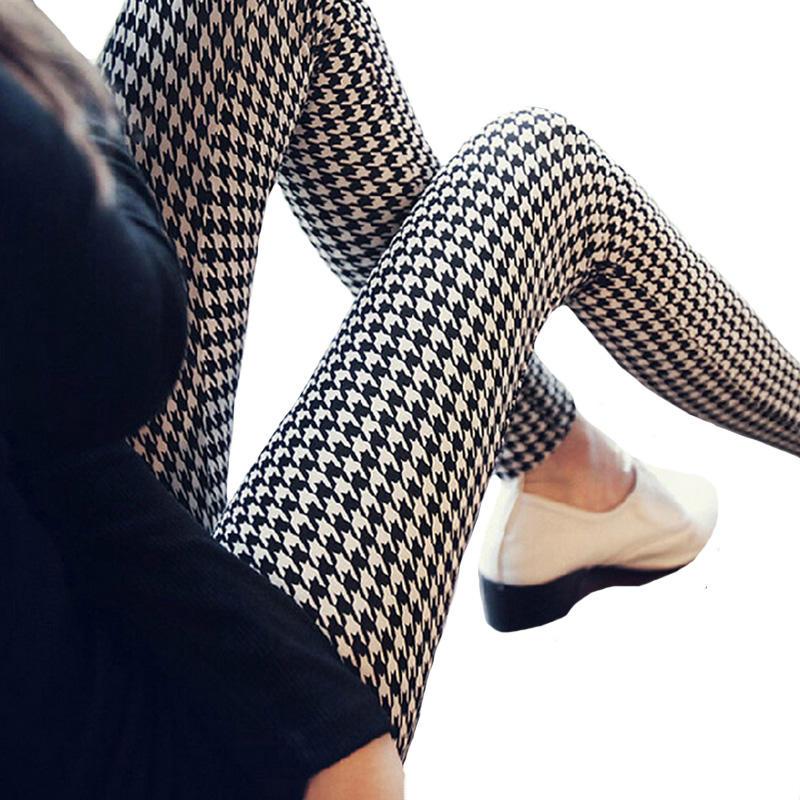 Graffiti Checkered Leggings Floral Patterned Print Leggins For Women Houndstooth Soft Cotton Leggins Elastic Design