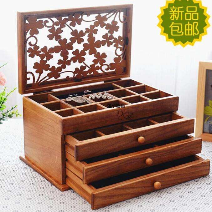 old brown wood caved jewellery box gift box