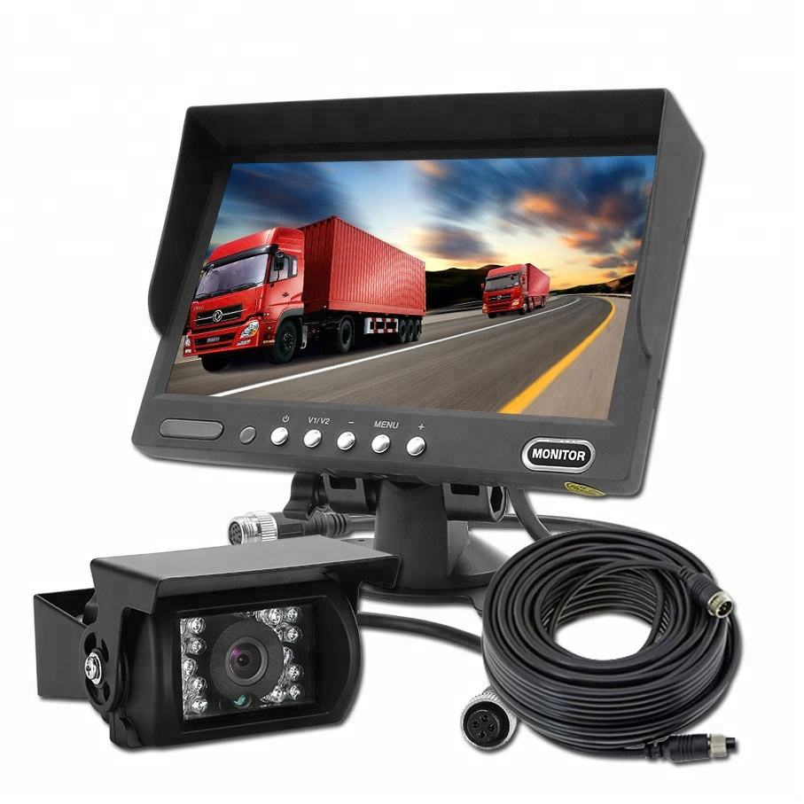 7 Inch Digital Vehicle Monitor School Bus Security Trailer Camera Truck Tractor Rear View 24 volt Reverse Camera System