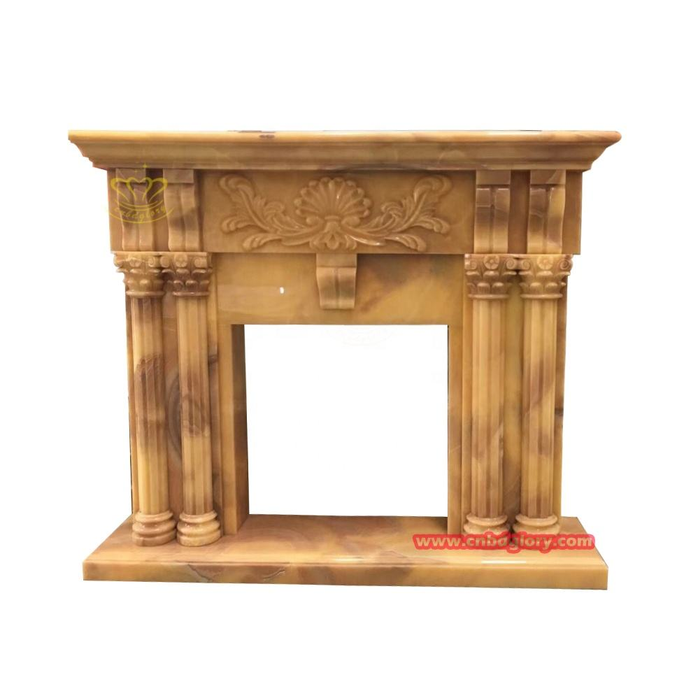 Popular Design Hand Carved Products Marble Fireplace Mantel