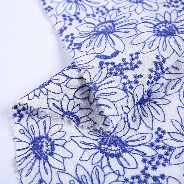 Shaoxing textile material embroidered floral fabric 100% cotton dobby fabric