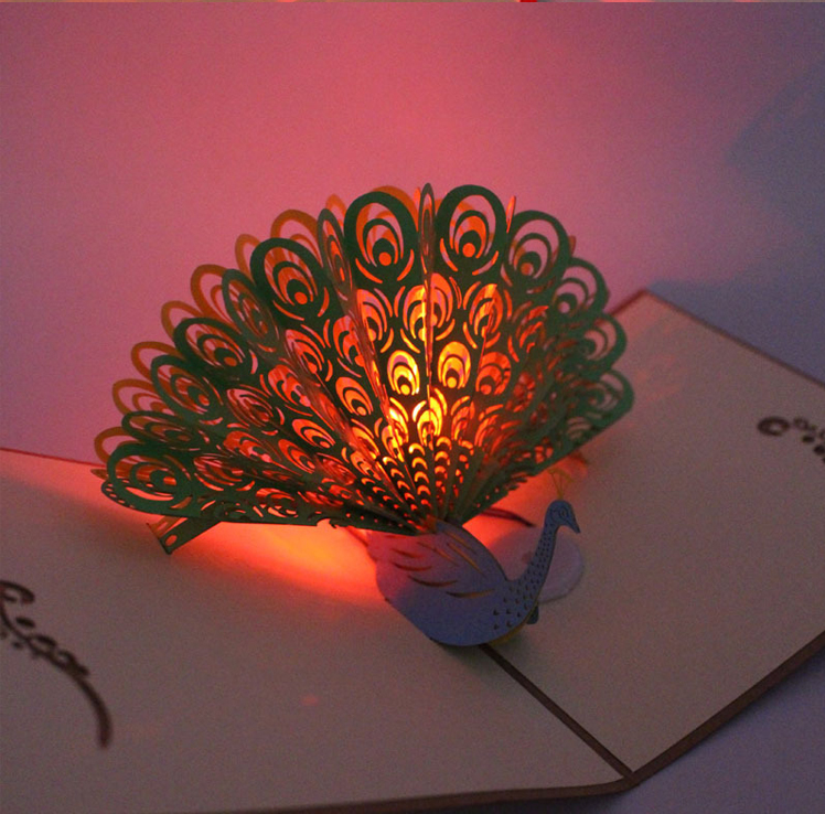 Custom music happy birthday 3D greeting card with LED light,different kinds of led greeting card with your own designs