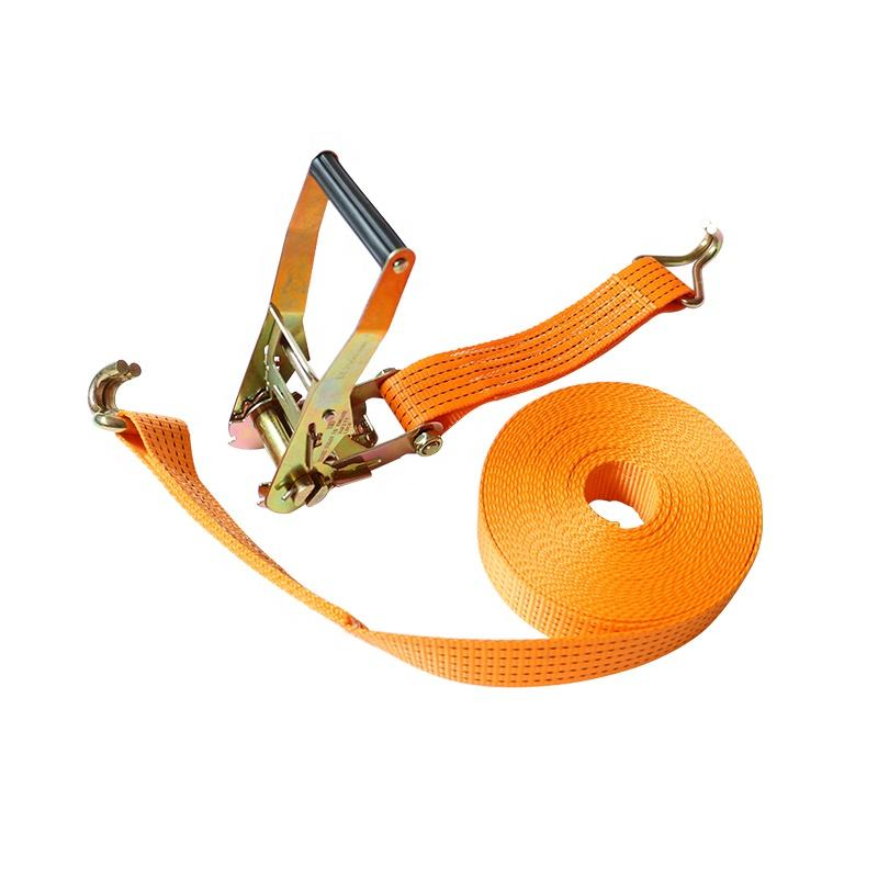 China manufacture 2 inch 5 ton ratchet buckle tie down strap with double J hooks cargo lashing belt