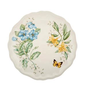 Custom Size OEM High End Restaurant Plastic Dishes Lenox Butterfly Meadow Melamine Dinner Plate