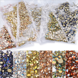 NEW Colors Non Hotfix Flatback Glass Nail Art Crystal Mixed Size Rhinestones for Nail Art Decorations