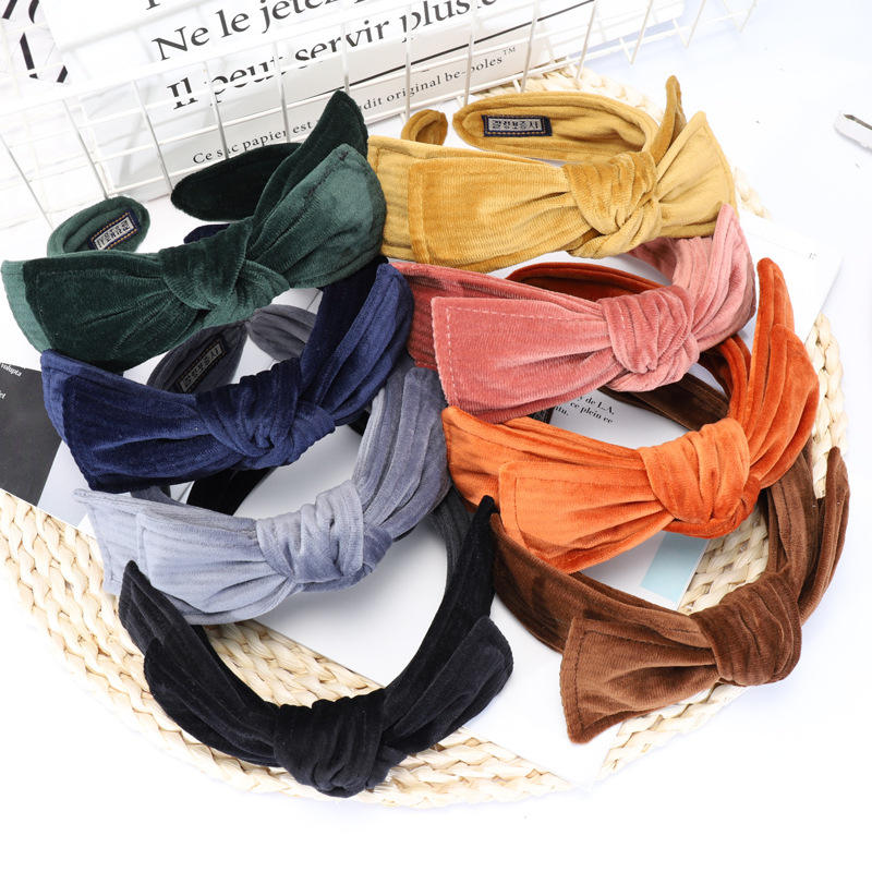 C49 2020 New Design Korean hair accessories bow headband girls headband wide side wholesale towel velver hair band