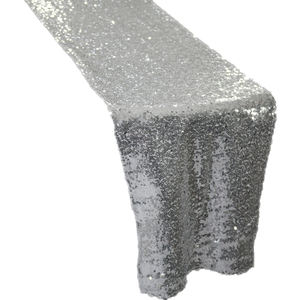 Sliver Shiny Glitter Sequin Table Runner for Wedding events Hotel Decoration Quality Embroidery Table Overlay Banquet
