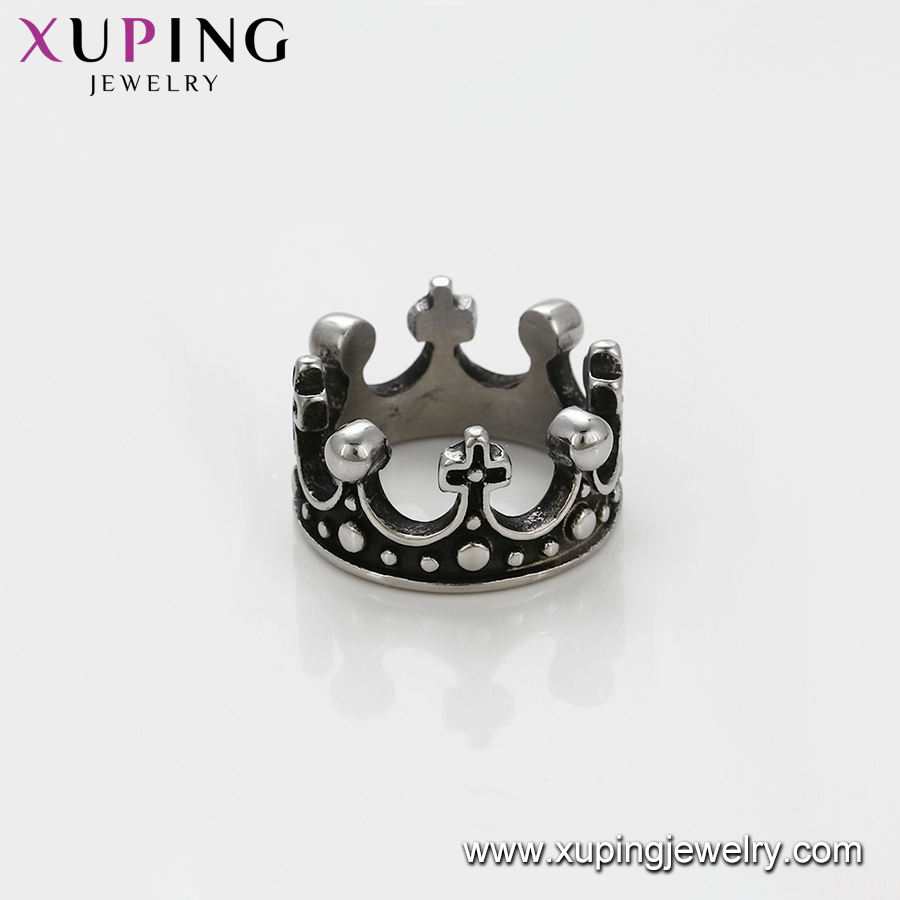 One-Stop Service Stainless Steel King Rings Stainless Ring 15500 Xuping Wholesale Cheap Price Vintage Design Stainless Steel Black King Crown Rings