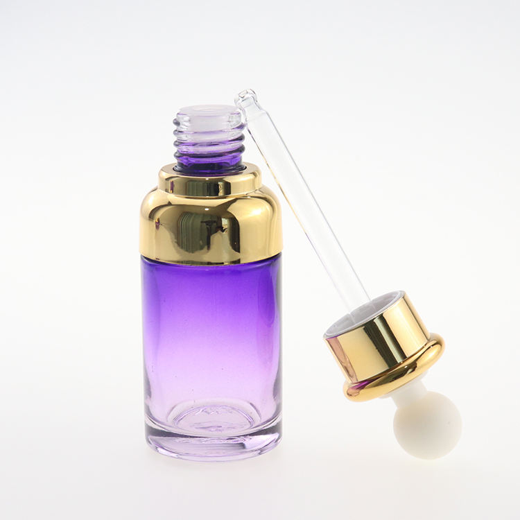 noble factory Anti Aging Wrinkle acid Serum UV electroplating glass bottle with gold dropper seal ring ball rubber top for skin