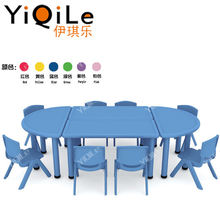 Combination kindergarten study table and chair plastic children desk