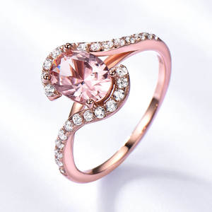 Female 180 Nano Dainty Jewelry 925 Sterling silver Rose Gold Plated Waved Morganite Rings Vintage Engagement Ring Diamond
