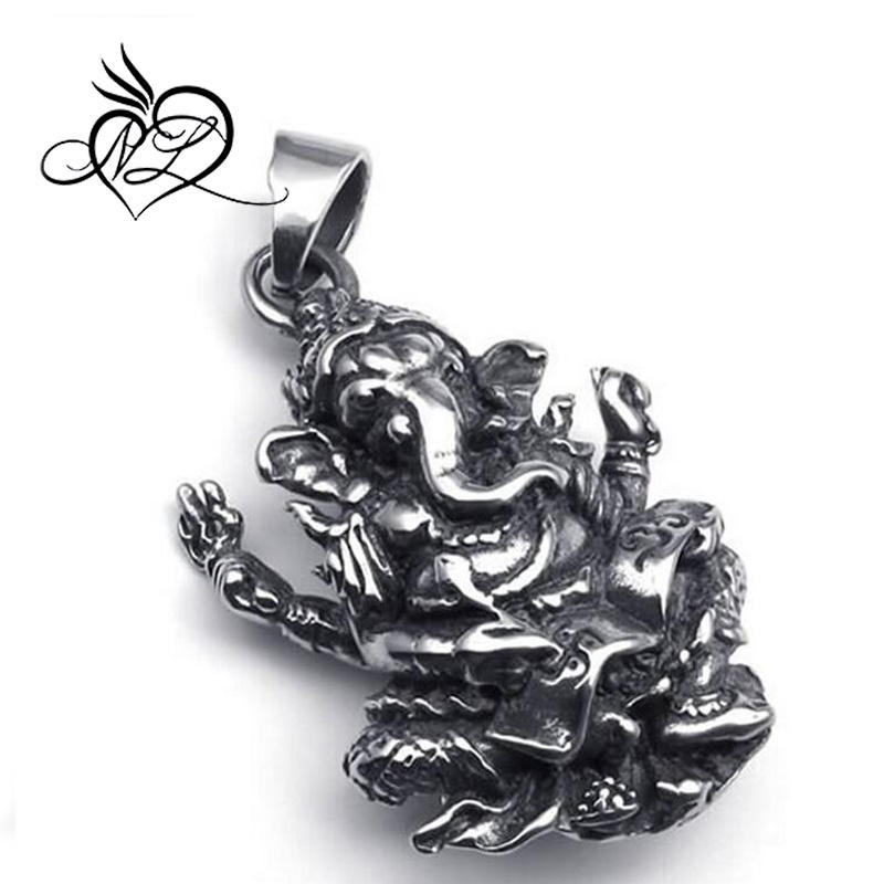 Stainless Steel Hindu Ganesh Ganesha Elephant Pendant Mens Necklace, 24 inch Chain