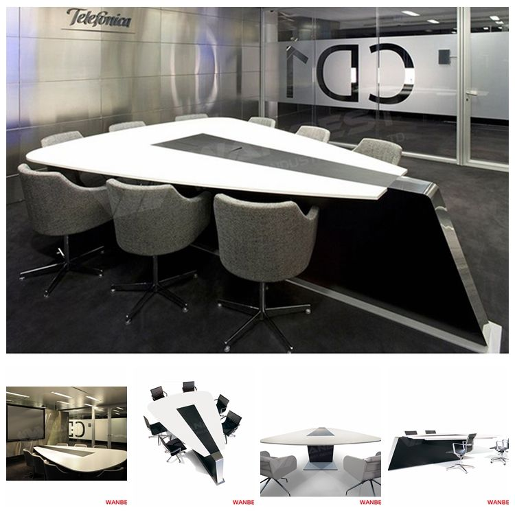 Special design high end artificial stone glossy top 8-10 person executive council conference table