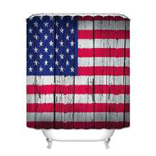 American Flag Decor USA Flag Patriotism Painted Old Wooden Looking Background Design Polyester Fabric Bathroom Shower Curtain
