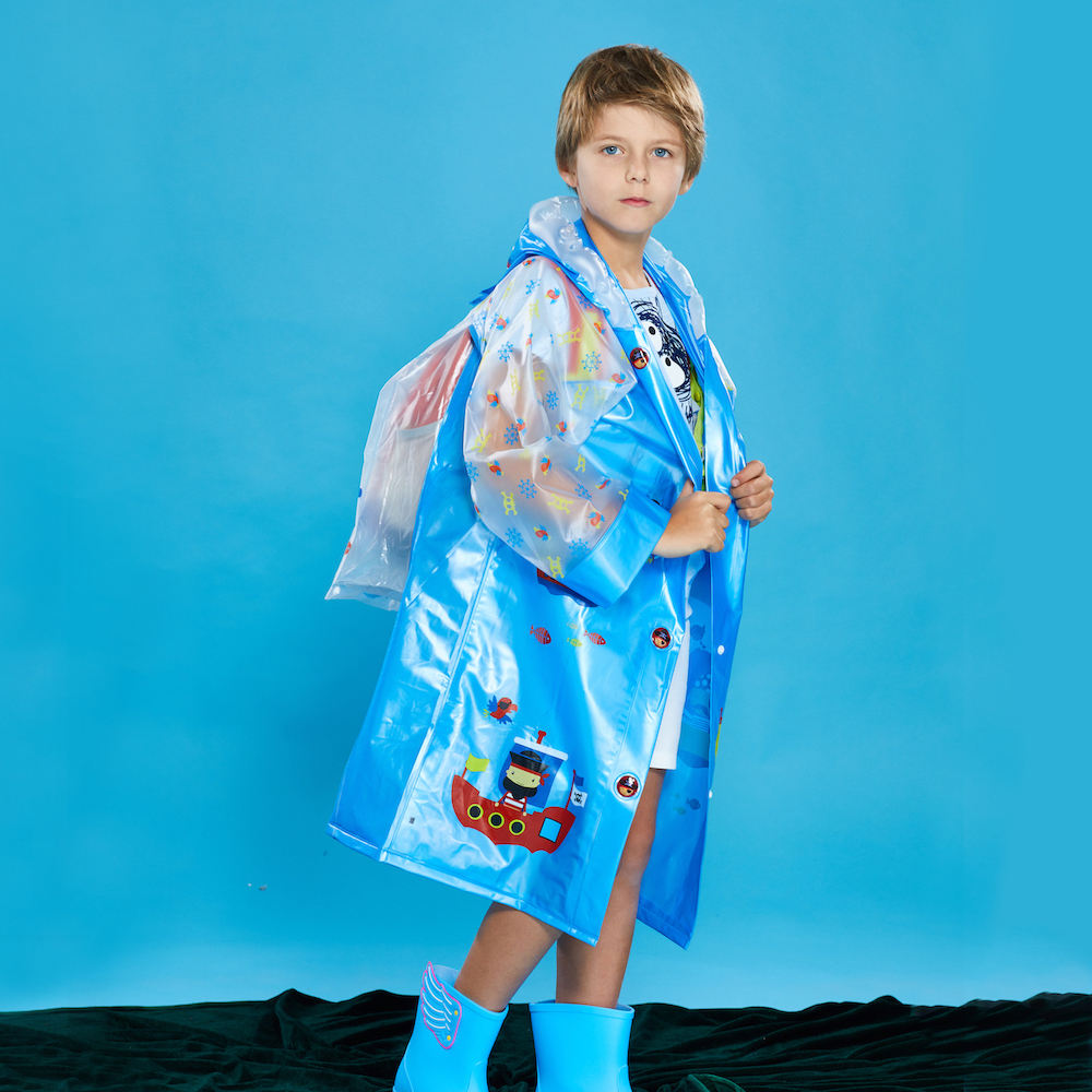 Long Cute Waterproof School Bag Space Cover Student Kids Jacket Collapsible Carton Transparent Children PVC Plastic Raincoat