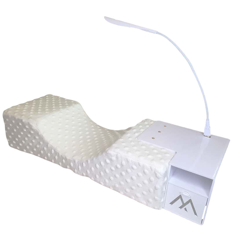 Custom private logo U-shaped pillow stand set tool with pillows, brackets, LED lights and eyelash tiles for eyelash extension